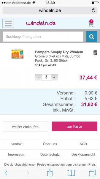 15% auf Pampers bei 2 Packungen bei Windeln.de