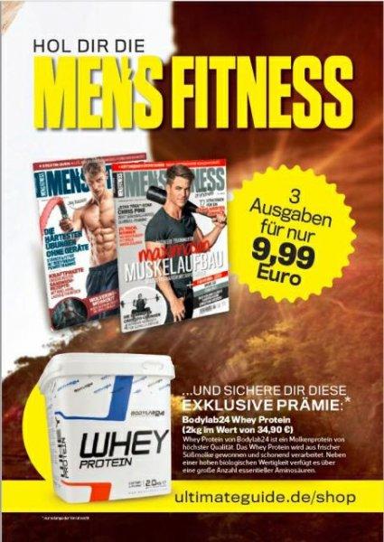 Bodylab24 Whey Protein für 11,49 € durch 3 Monate Men's Fitness Probeabo