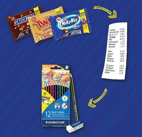 [Lidl] 3 x Snickers, Twix, Mars, etc. Minis Pack +  12er Staedtler Buntstifte Gratis