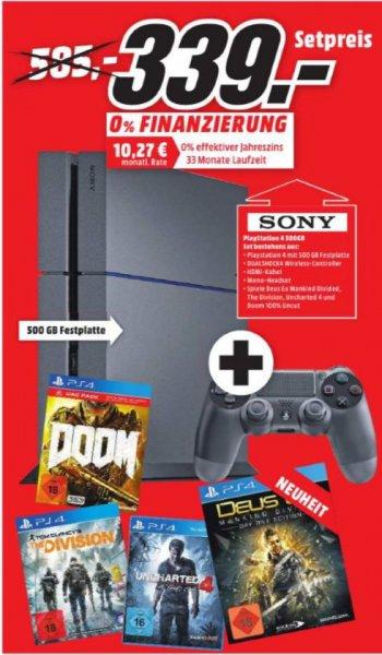 [Lokal Mediamarkt Meppen und Lingen Nur am 23.08 ab 15.00 Uhr] Playstation4,500GB + Tom Clancyx27s The Division + Doom (UAC Pack) + Uncharted 4: A Thiefx27s End + Deus Ex: Mankind Divided für 339,-€ **Evtl. -20% Rabatt???