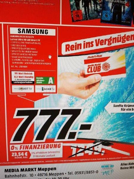 [Lokal Mediamarkt Meppen und Lingen Nur am 23.08 ab 15.00 Uhr] Samsung UE55KU6179