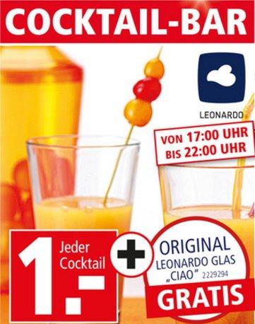 """[SEGMÜLLER WEITERSTADT] 1 Cocktail nach Wahl + 1 Leonardo Absturz-Glas """"Ciao"""" für 1,00€ (Fr.+Sa. 17-22 Uhr)"""