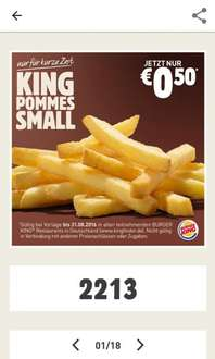 [Burger King App] 50. Deal - King Pommes Small für 0,50€