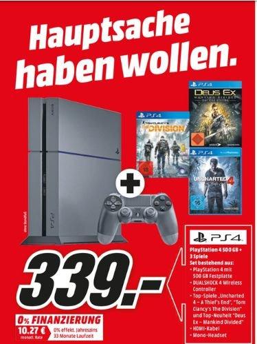 [Mediamarkt] Playstation4,500GB + Tom Clancys The Division + Uncharted 4: A Thiefs End + Deus Ex: Mankind Divided für 339,-€  bei Abholung