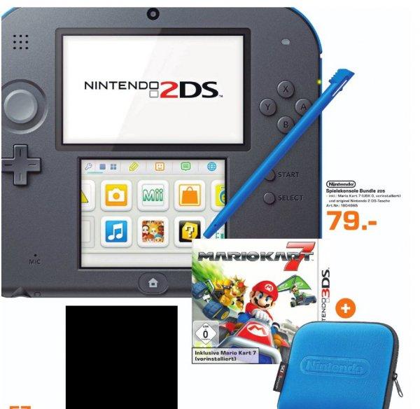 [Lokal Saturn Trier] Nintendo 2DS Konsole schwarz blau inkl. Mario Kart 7 + Tasche für 79,-€