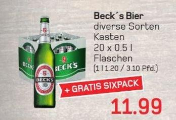 [Lokal Wuppertal/Akzenta] 1 Kiste Becks (0,5L) + 6-Pack für 11,99 €