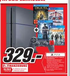 (Lokal Mediamarkt Bad Cannstatt) Playstation4,500GB + Tom Clancys The Division + Uncharted 4: A Thiefs End + Deus Ex: Mankind Divided + F1 2016 für 329,-€