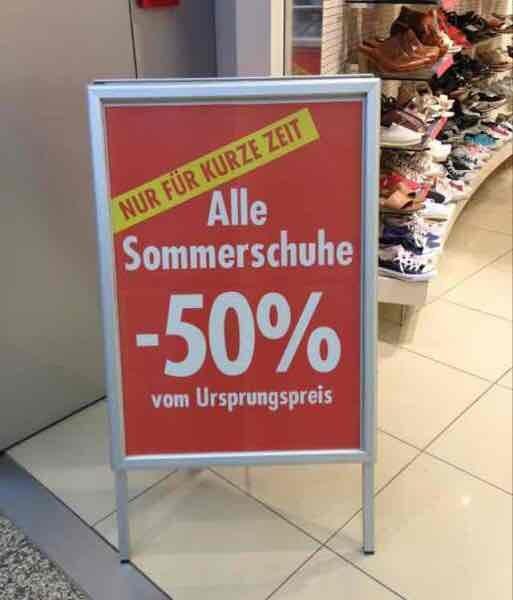 (Lokal? Berlin) 50% vom Ursprungspreis auf alle Sommerschuhe bei Leiser