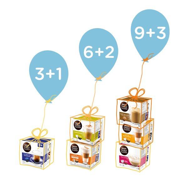 Nescafe Dolce Gusto 4 Packungen zum Preis von 3 usw.