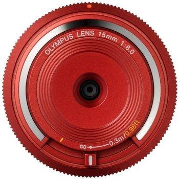 Olympus Body Cap Lens 15mm f8 Festbrennweite für MFT in rot