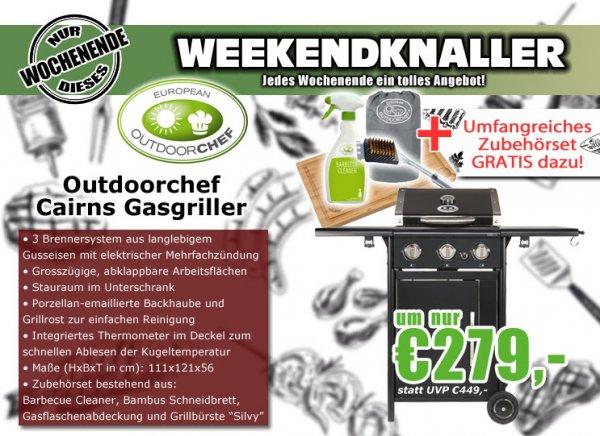 Outdoorchef Cairns Gasgriller, schwarz + Zubehörset - 23% günstiger