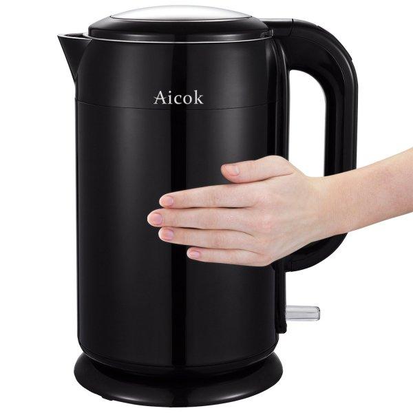 Edelstahl Wasserkocher mit Doppelwand (Wärmeschutz), 1,7 Liter, Schwarz amazon