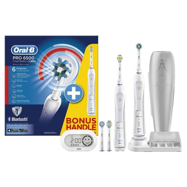 Oral-B PRO 6500 elektrische Zahnbürste (mit Bluetooth & 2. Handstück)[4 Aufsteckbürsten] 5 Reinigungs-Modi für 108,71€ @Amazon.de Blitzangebote
