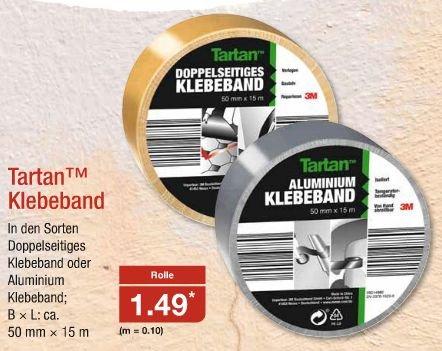 [Aldi Nord ab 5.09.] 3M Tartan Klebeband (Doppelseitig o. Aluminium; jeweils 50mm*15m) für 1,49€