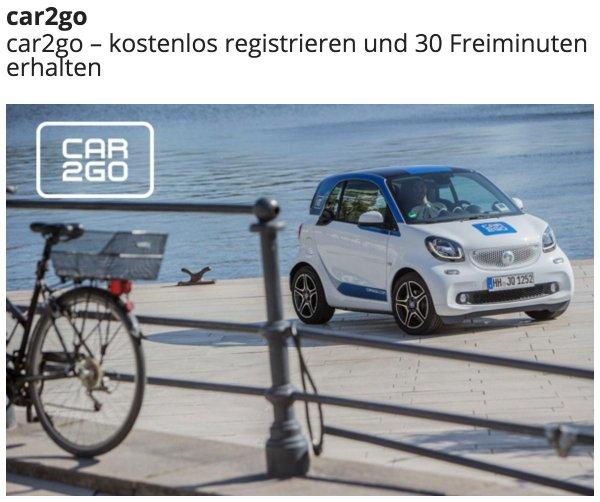 Kostenlose Registrierung und 30 Freiminuten car2go für jedermann