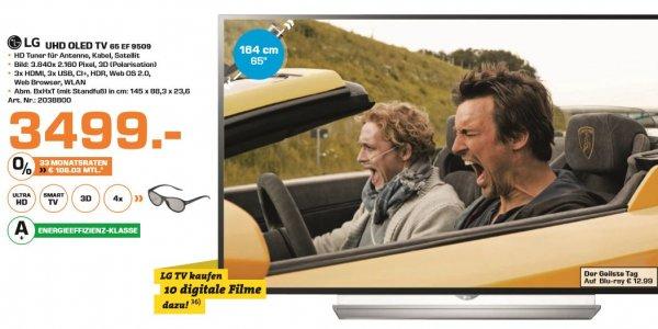 [Saturn] LG 65EF9509, 164 cm (65 Zoll), UHD 4K, 3D, SMART TV, OLED TV, DVB-T, DVB-T2 (H.265), DVB-C, DVB-S, DVB-S2 für 3494,-€ inc.10 Filme bei Juke.Versandkostenfrei*Angebot Online*