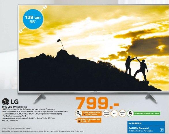 [Lokal] 55 Zoll UHD LED-TV LG 55UH6159 Saturn Baunatal idealo 949