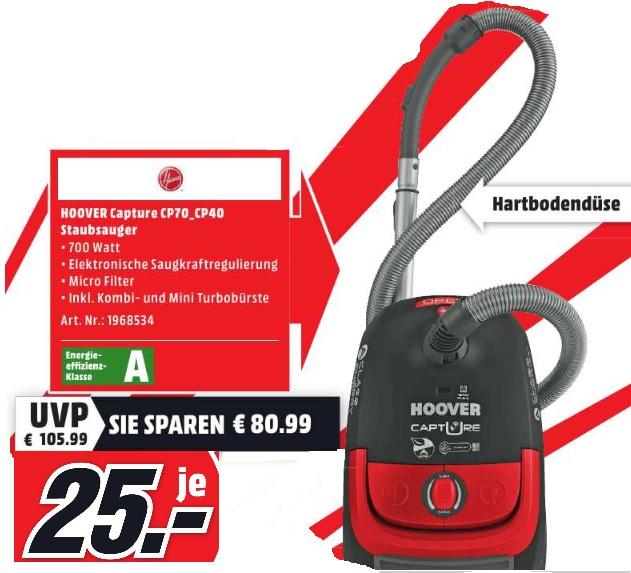 [Mediamarkt Essen] Hoover CP70_CP40 Staubsauger, 700 Watt, Energieeffizienzklasse A, inkl. Kombi- und Mini Turbobürste für 25 Euro