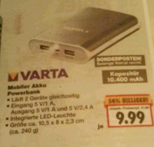 Varta Powerbank 10.400mAh