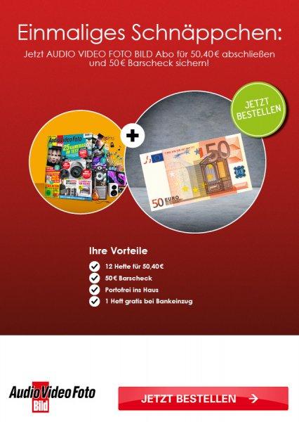 Audio Video Foto Bild mit DVD 12 Monate für 50,40€ mit 50€ Verrechnungsscheck als Prämie - Effektivpreis: 0,40€