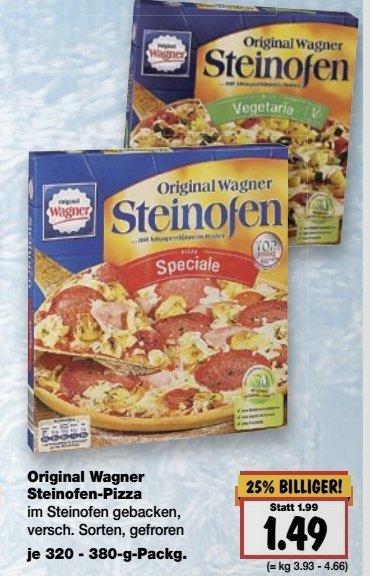 Wagner Steinofenpizza Speciale und Vegetaria verschiedene Sorten für 1,49 im Kaufland Rüsselsheim statt 1,99€