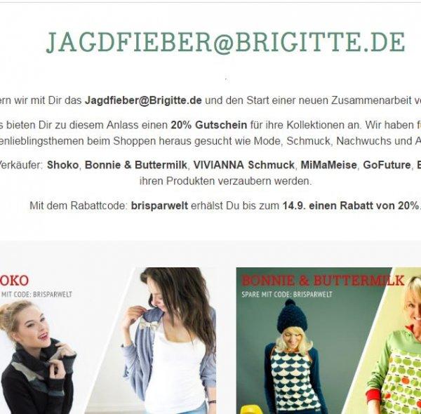 20% Rabatt auf alles bei ausgwählten DaWanda Shops:  Shoko, Bonnie & Buttermilk, Blausbergbaby, Viviana Schmuck und mehr!