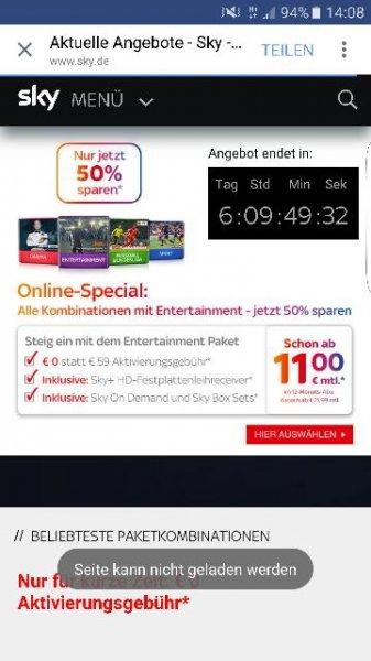 Sky Entertainment für nur 11 € im Monat und einmalig 12,90 €