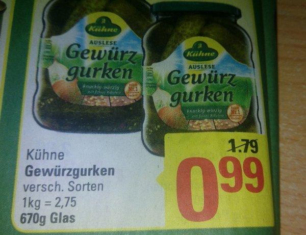 MARKTKAUF ( Hannover/Minden) Kühne Gurken 98 Cent für 2 Gläser (COUPON)