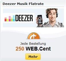 [WEBCENT] 250 Webcent (2,50€) für kostenlosen 1-monatigen Deezer Test (Web Club Mitglieder 500WC!)