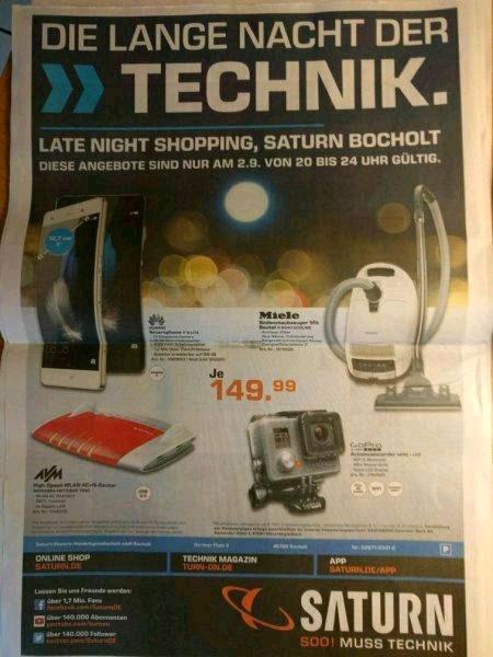 [Lokal Saturn Bocholt] FRITZ!BOX 7490/GoPro Hero + LCD für je 149,99€ nur heute von 20-24 Uhr