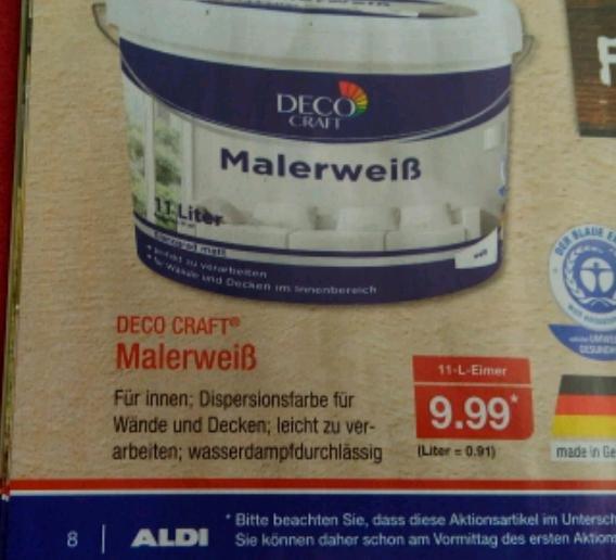 Aldi Nord Deco Craft Malerweiß (Klasse Zwei)  9,99€ für 11 Liter ab 5.9.16