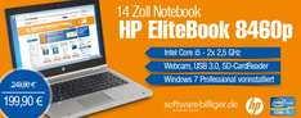 14 Zoll Laptop HP EliteBook 8460p nur 199,90€ (20%) [Softwarebilliger]