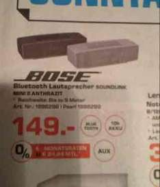Lokal Saturn Troisdorf am 04.09.: BOSE Soundlink Mini II für 149 Euro, idealo ab 175 Euro