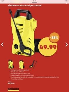 Kärcher Hochdruckreiniger K2 Basic [Bauhaus Tiefpreisgarantie] 43,99€