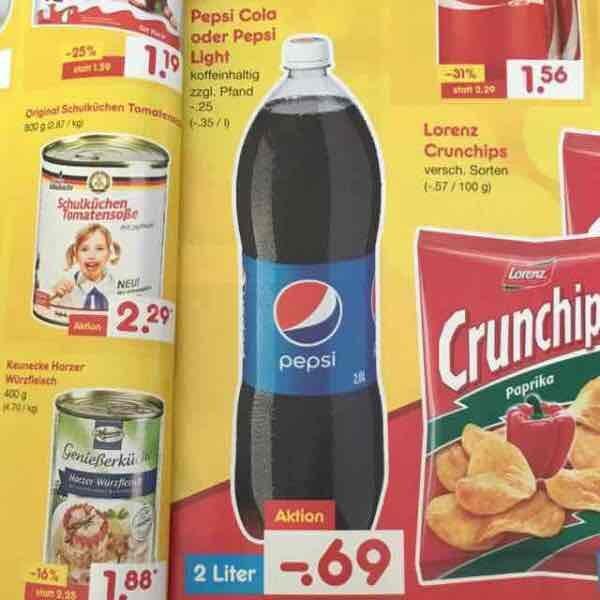 [Netto Marken-Discount] 2 Liter Pepsi Cola / Light mit Coupies nur 0,48€ (0,24€ Liter)