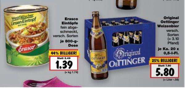 Oettinger Weizenbiere - alle Sorten für nur 5,80 € bei [Kaufland Bayern]
