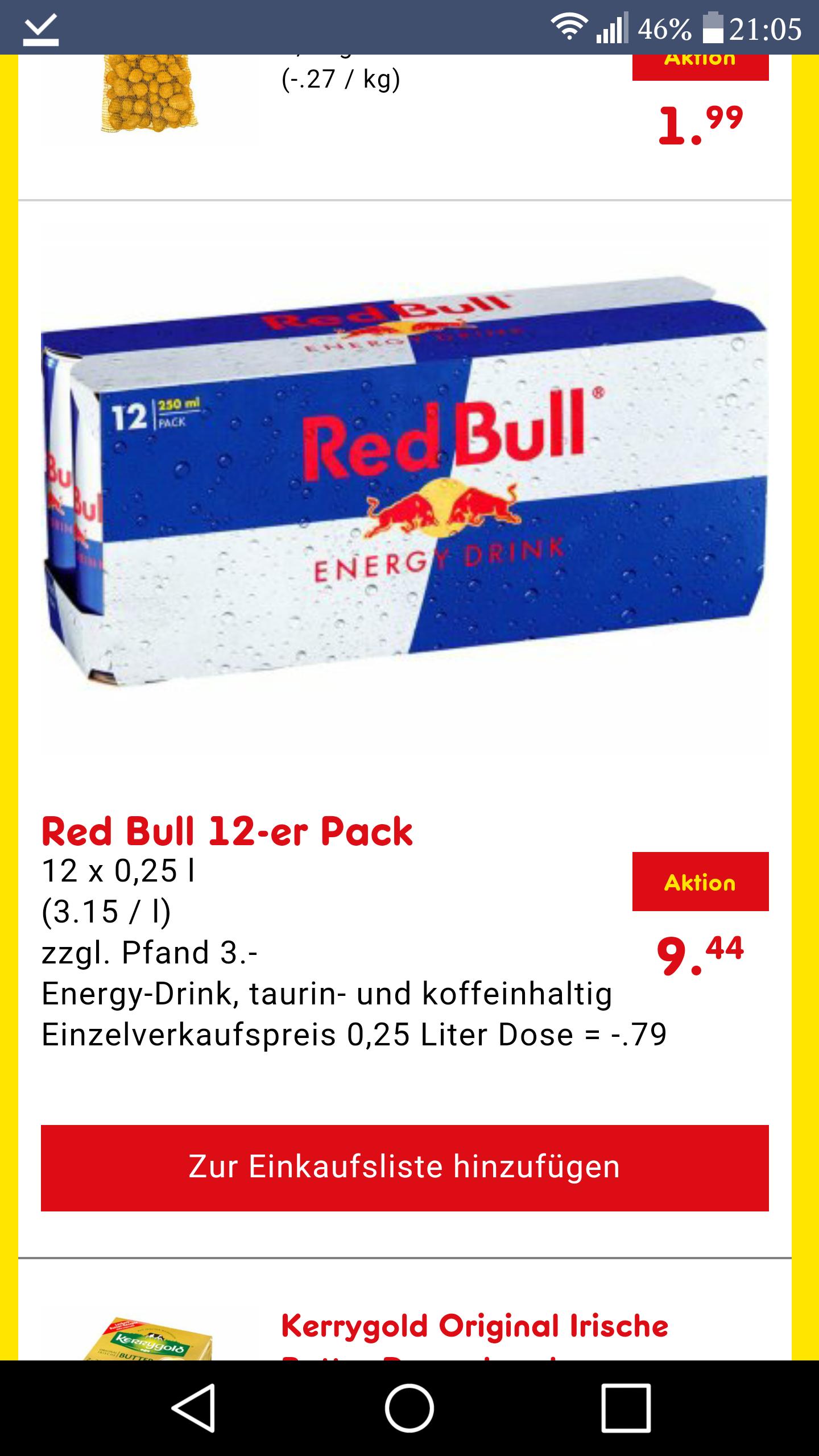 netto ohne hund samstagskracher red bull 12er für 9,44 euro exkl. pfand