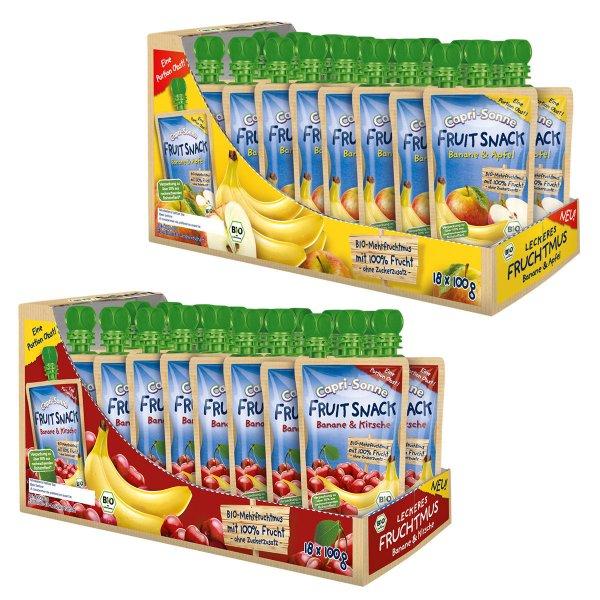 Capri Sonne Fruit Snack 36 Stück Banane & Apfel / Kirsche Fruchtmus für 9,95€ @eBay