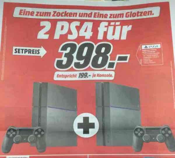 PlayStation 4: 2 zum Preis von einer - Effektiv 199€/Stück ab 07.09. bei Media Markt Deutschlandweit und online!