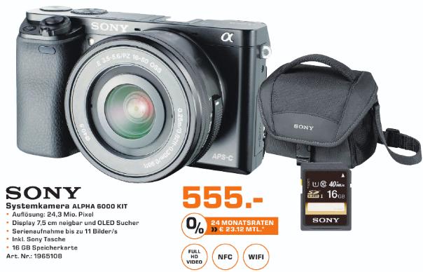 Saturn Aachen: Sony Alpha 6000 Kit 16-50mm schwarz/silber + Taschen + 16GB SD