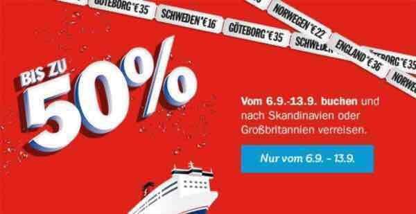 bis zu 50% bei Stena Line vom 06.-13.09.2016 - einfache Fahrt