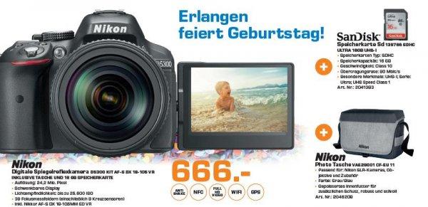 """Saturn Erlangen """"Nikon D5300 KIT AF-S DX 18-105 VR INKL. TASCHE &16 GB SPEICHERKARTE"""""""