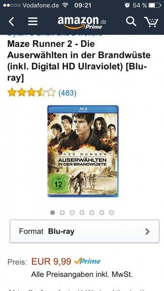 [Amazon Prime] Maze Runner 2 Die Auserwählten in der Brandwüste (inkl. Digital HD Ulraviolet) Blu Ray für 9,99 Euro
