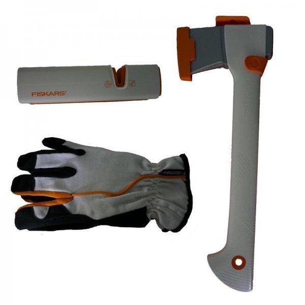 (eBay) Fiskars Axe Set Limited Edition - Fiskars Universalaxt + Xsharp Fiskars Axt- und Messerschärfer + Handschuhe für 34,90€