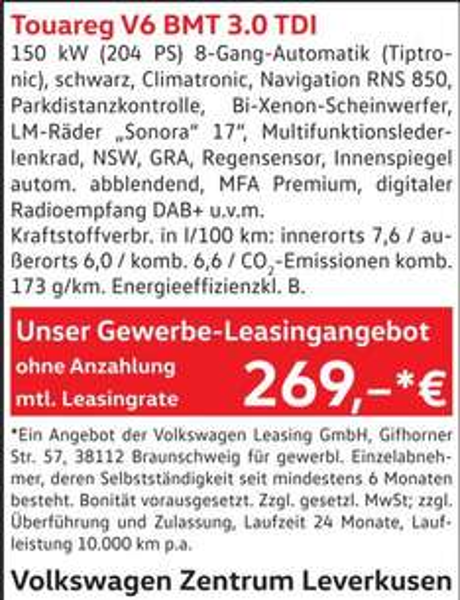 VW Touareg V6 3.0 TDI 150 kW (204 PS) 8-Gang-Automatik für 269€ netto im Monat (2Jahre) - Gewerbeleasing