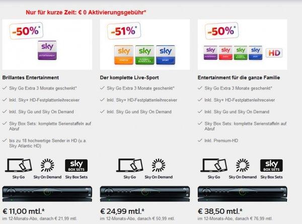 SKY Komplett für 38,50€ 12 Monate für Neukunden