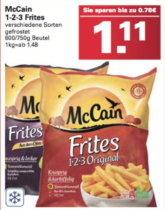 [WEZ] 41 Cent Preishammer - McCain 1-2-3 Fries 750g oder Deluxe Frites 600g durch Angebot + Gutschein