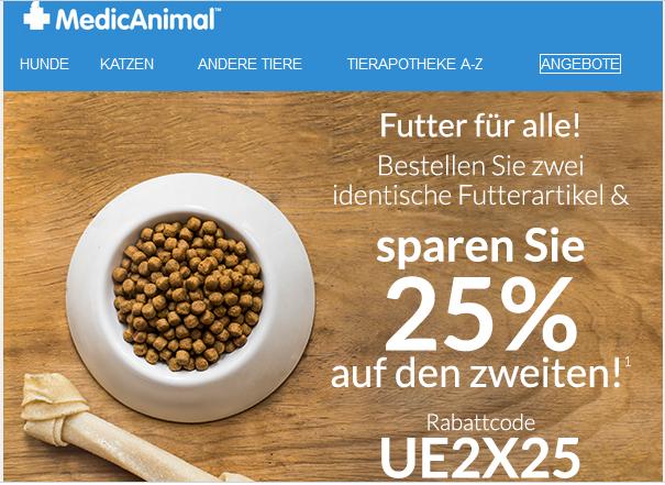Tierfutter bestellen bei Medicanimal.de mit 25% auf das 2. identische Futter
