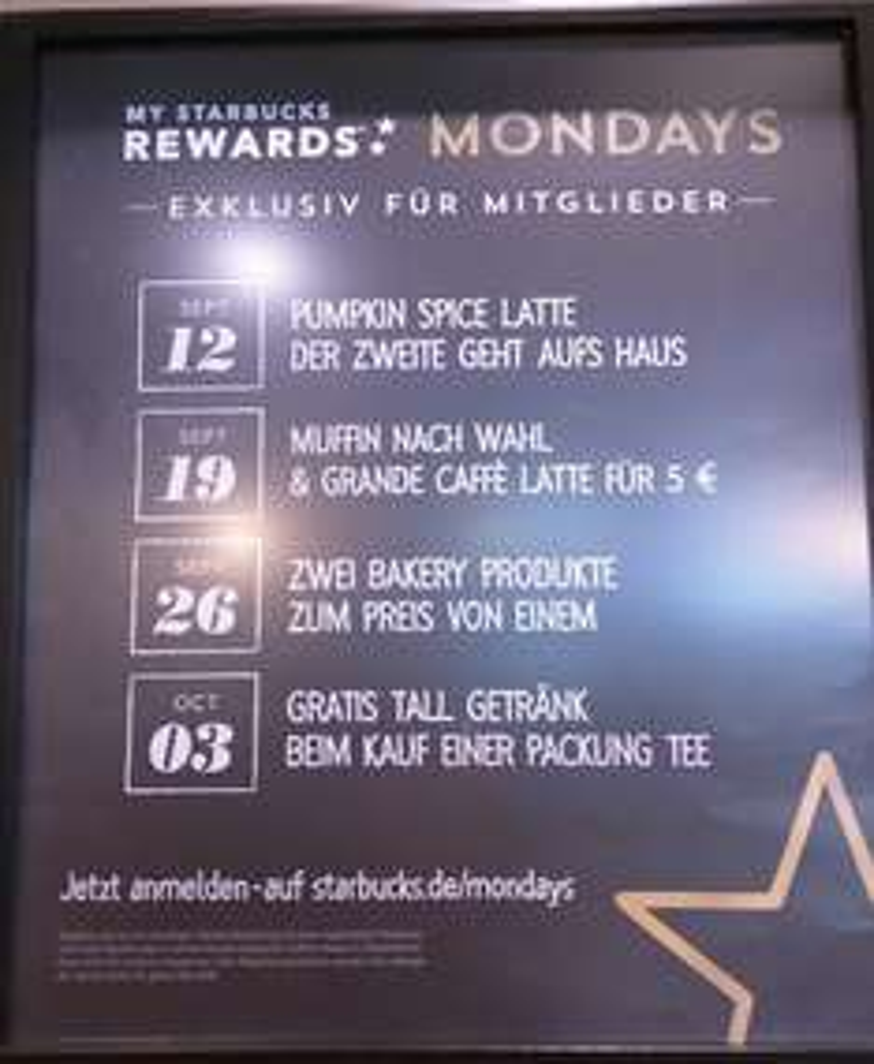 Starbucks Montag-Aktionen bsp. zweites Getränk umsonst
