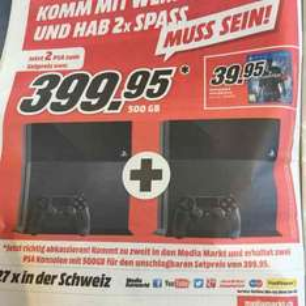 [CH-Offline] Mediamarkt 2 x PlayStation  399.95 CHF